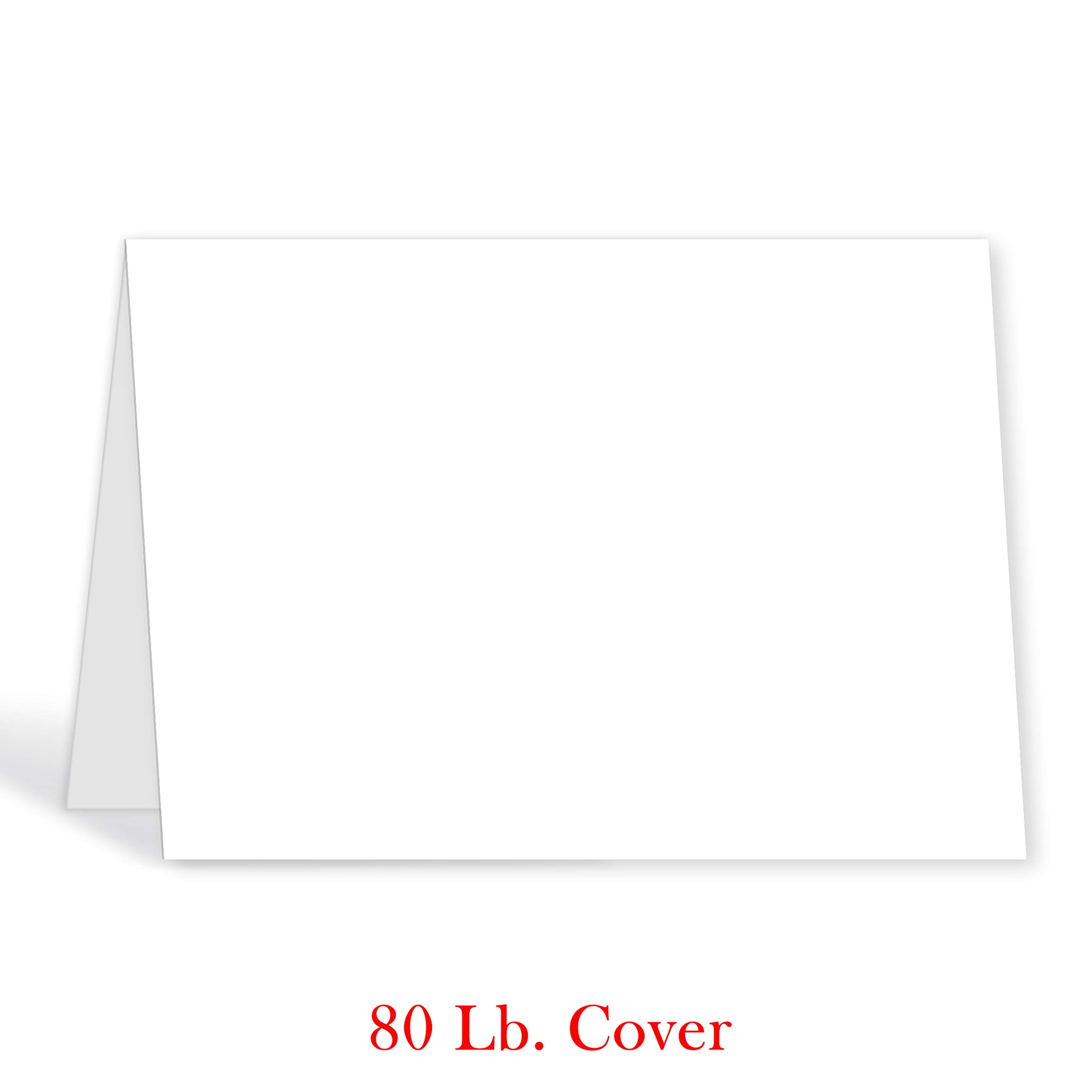 Greeting Cards - 5x7 Inches Heavyweight Blank White Card Paper- Half-Fold Design - Perfect for Birthday Invitations, Wedding, Holiday, Notes, Anniversary and All Occasions - Bulk Pack of 100 Cards