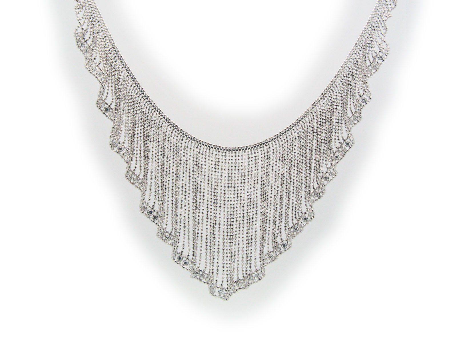 Silk Curtain Collar Necklace in Sterling Silver