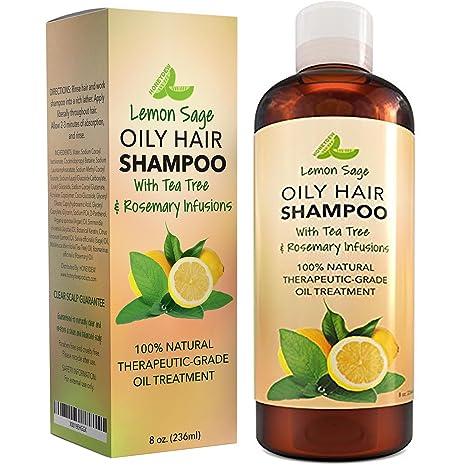 Champú voluminizador para cabello aceitoso, champú de vitamina con aceite de limón + salvia,