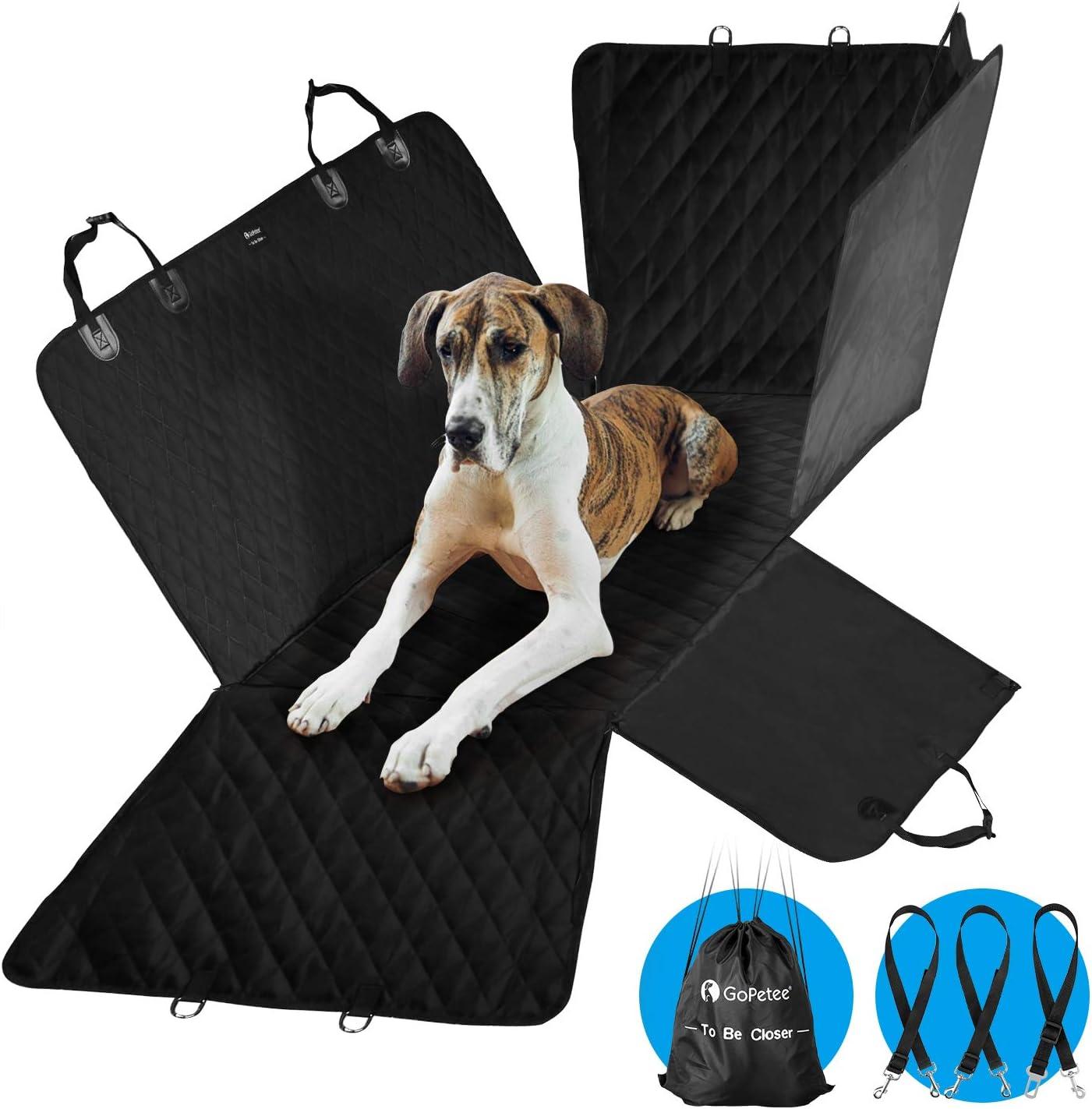 GoPetee Fundas Perro para Coche Resistente Cubierta Asiento Coche para Perros Impermeable Protector de Asiento de Autos Antideslizante para Mascotas Portátil para Viaje con Hebilla de Seguridad