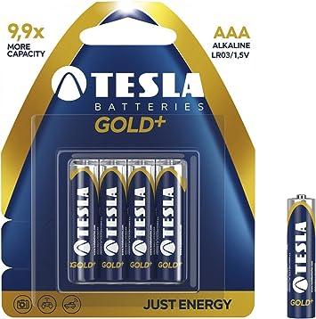 Tesla Batteries AAA Gold Plus - Pack de 4 Pilas (1200 mAh) Color Azul: Amazon.es: Electrónica
