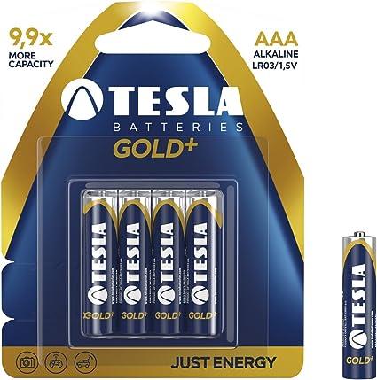 Tesla Batteries AAA Gold Plus Color Azul Pack de 4 Pilas 1200 mAh