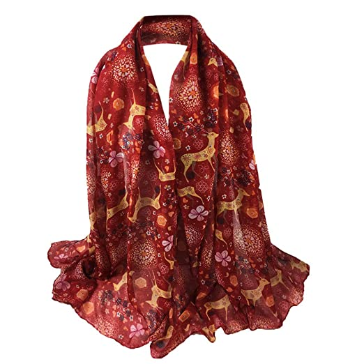 1613a89db34ad UONQD Women Christmas Deer Printing Scarf Long Soft Wrap Shawl Stole  Pashmina Scarves(OneSize,