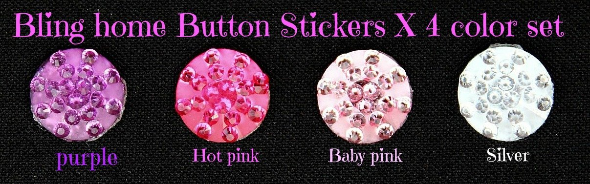 Rhinestone Jewel Bling Sparkle home button set of four fits ipad mini iphone 4s iphone 5 iphone 3gs