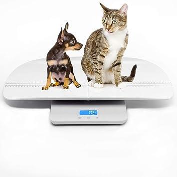 Escala digital multifuncional para mascotas para medir con precisión el peso de perros y gatos, precisión de 10 g, luz de fondo azul, especialmente ...