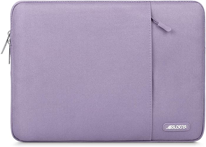 MOSISO Laptop Sleeve Bag Compatible with 13-13.3 inch MacBook Pro, MacBook Air, Notebook Computer, Water Repellent Polyester Vertical Protective Case Cover with Pocket, Light Purple