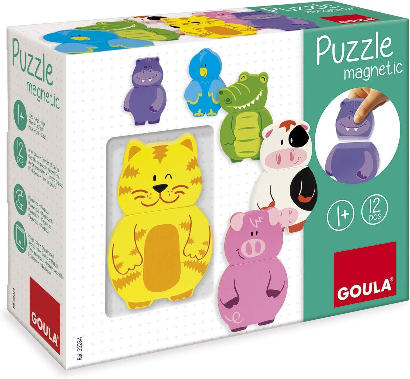 Goula - Puzzle magnético intercambiable - Puzzle de madera a partir de 1 año: Amazon.es: Juguetes y juegos