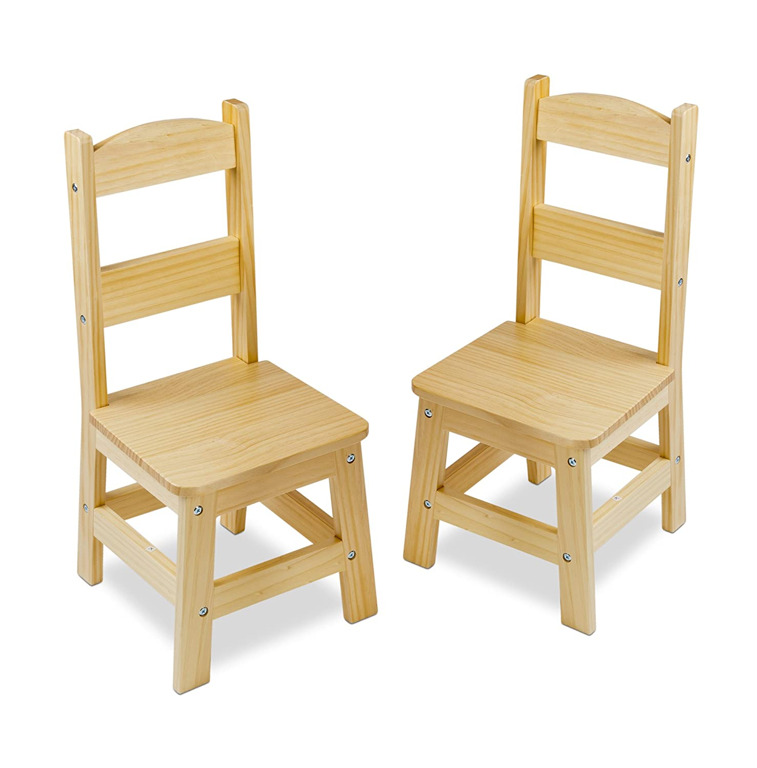 "Melissa & Doug Solid Wood Chairs, Chairs for Kids, Light-Finish Furniture for a Playroom, Durable Construction, Set of 2, 28"" H x 15.2"" W x 4"" L"
