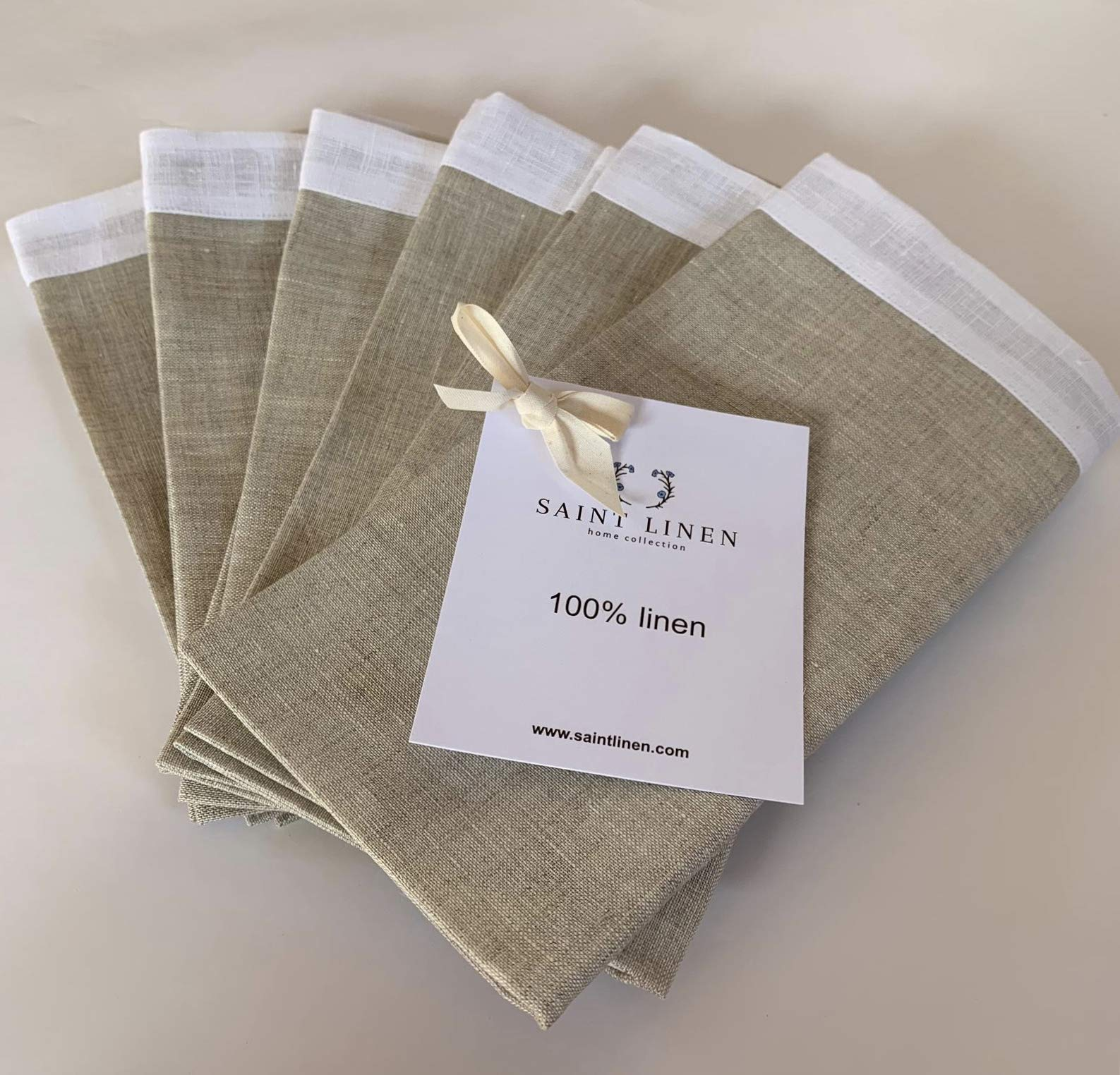 Saint Linen 100% Linen Dinner Napkins - Set of 6 - 18'' x 18'' White/Natural Fabric - Durable And Soft - European Flax -  For Events and Home use