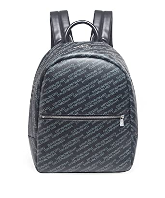 Emporio Armani Men s Tumbled Logo Backpack Blackboard One Size ... ec6a80d7ec9b7