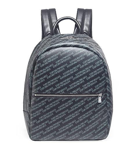 d8a9ecd29bc Emporio Armani Men s Tumbled Logo Backpack Blackboard One Size   Amazon.co.uk  Clothing