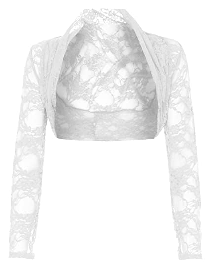 Womens Plus Size Long Sleeve Floral Lace Crochet Bolero Shrug