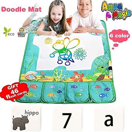 Amazon Com Aqua Large Doodle Drawing Mat Pad Tablet 6 Color