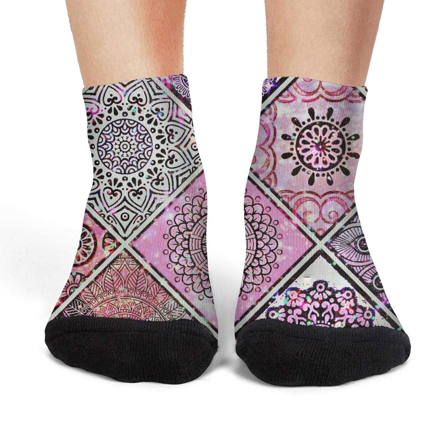 Mens low cut athletic Ankle sock Bohemian Style Retro stitching Fit Short Sock