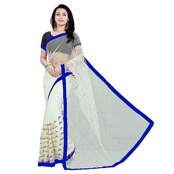 2e40645ea6 Shailaja saree Women's Off-White Color Embroidery Sequance Work Nylon Mono  Net Sari With Sequance Work Blouse Piece - Blue Border: Amazon.in: Clothing  & ...