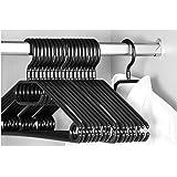 Perchas Keplin con gancho giratorio, 20 perchas para adultos, muy resistentes, color negro, 40cm de ancho
