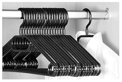 KEPLIN 20x Adult Swivel Hook Rotating Premium Heavy Duty Coat Hangers Black Colour (40cm Wide)