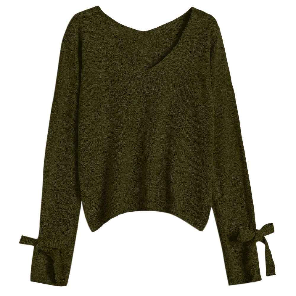 MAGUBA Autumn Winter Women Sweaters Pullovers Grey Basic Jumpers V Neck Bow Tied Long Sleeve Loose Sweater Knitwear (Green, One Size)