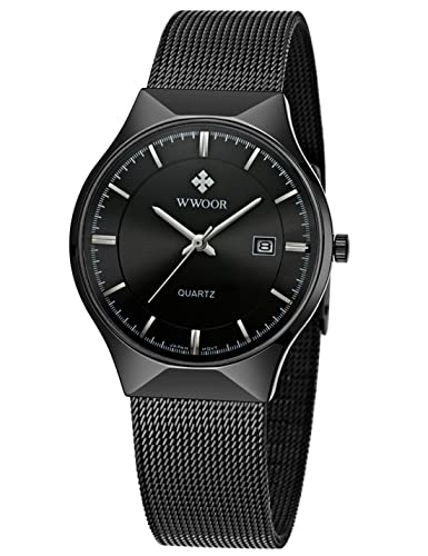 WWOOR Mens Analog Quartz Watch Ultra Thin Dial Date Stainless Steel Mesh Belt Waterproof (Black
