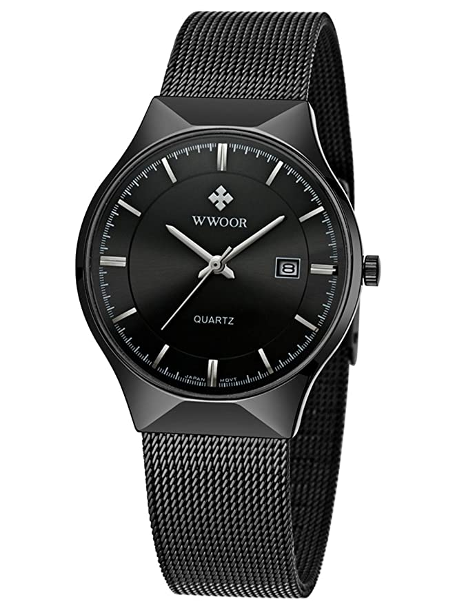 Amazon.com: WWOOR Mens Analog Quartz Watch Ultra Thin Dial Date Stainless Steel Mesh Belt Waterproof (Black B): Watches