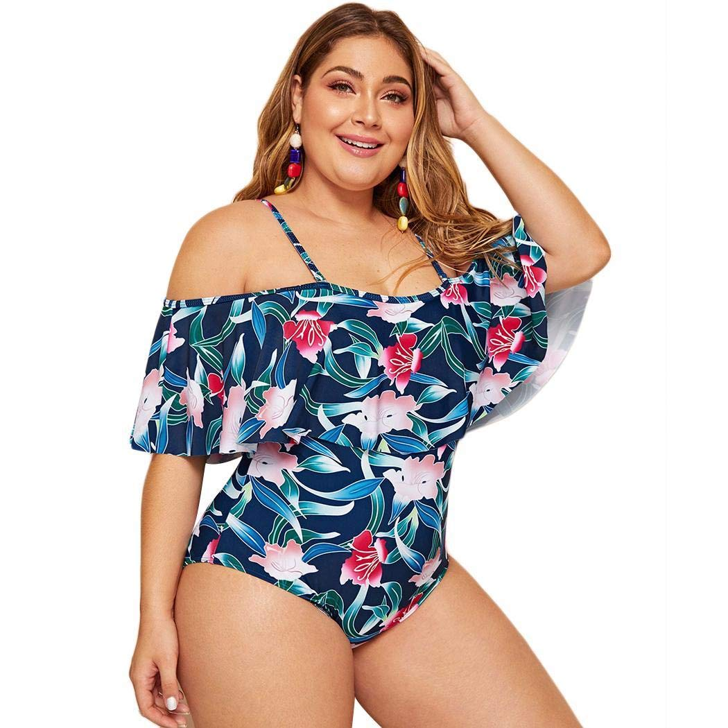 Kikole Women One Piece Plus Size Swimwear Ruffle Off The Shoulder Printed Swimsuits One-Pieces Blue