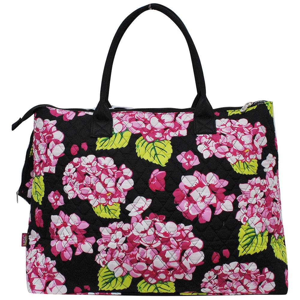 NGIL Quilted Cotton Extra Large Overnight Travel School Tote Bag 2018 Spring Collection (Hydrangea Black) by NGIL (Image #3)