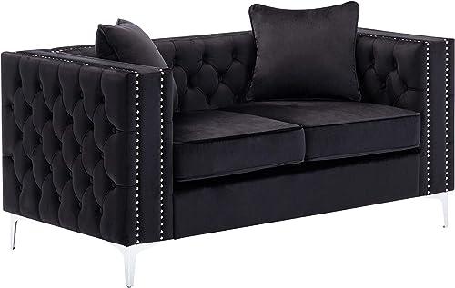 Editors' Choice: Lilola Home LILOLA Lorreto Velvet Loveseat Black