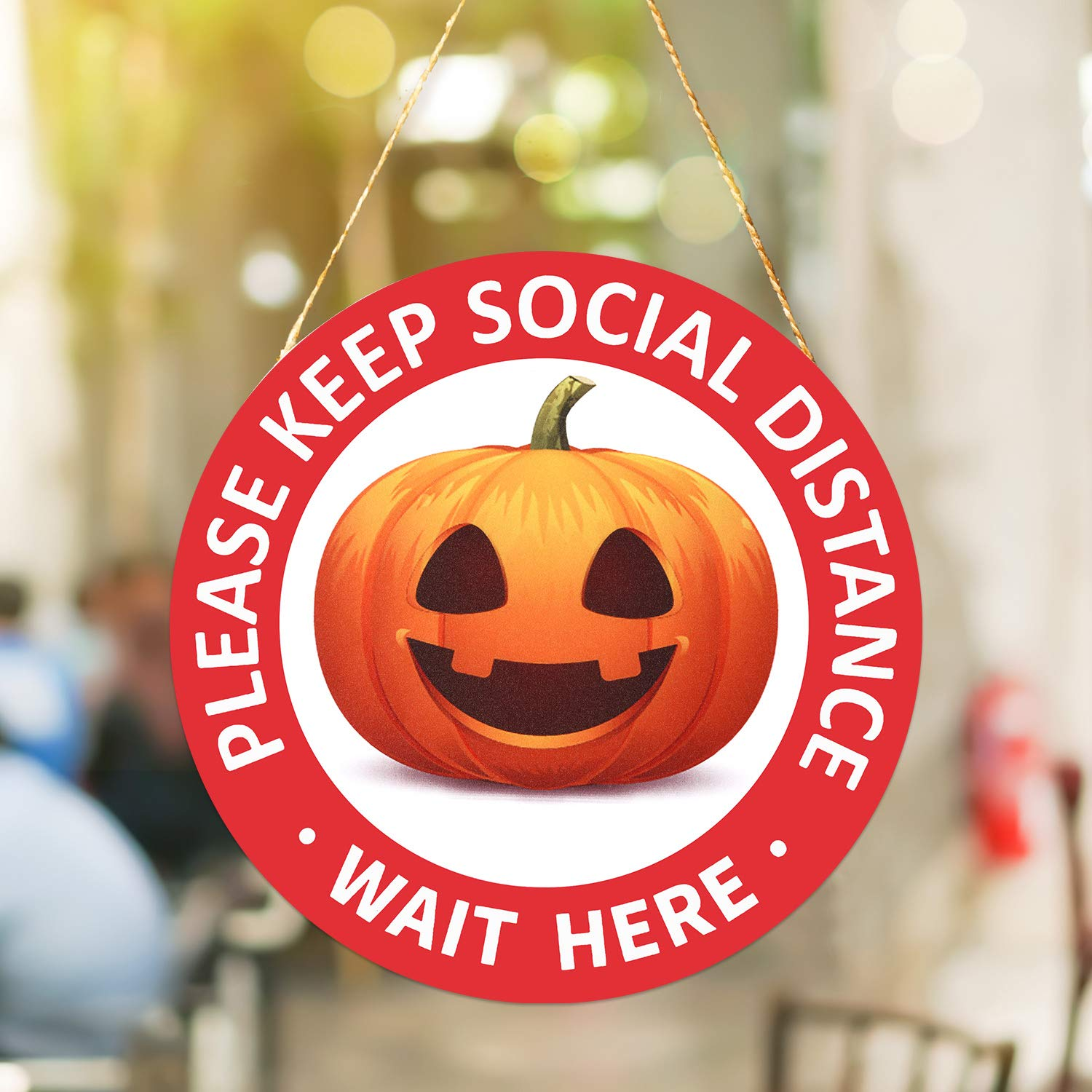 10 Pieces Halloween Pumpkin Social Distance Floor Stickers Halloween Floor Sign Decals Self Adhesive Stand Decal for Crowd Guidance Control Grocery Smile Style Restaurants and School