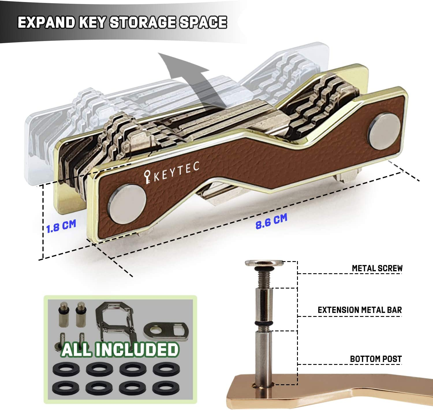 Compact Key Organizer Smart Key Holder by KEYTEC Leather Silver Rim Multitool Includes Bottle Opener Comb S-Clip Hook Expansion Accessory Enhanced Frame