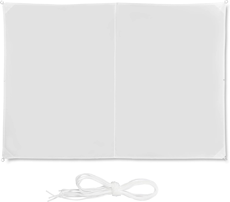 Relaxdays, Blanco Toldo Vela Rectangular, Impermeable, Protección Rayos UV, con Cuerdas para tensar, 2 x 3 m