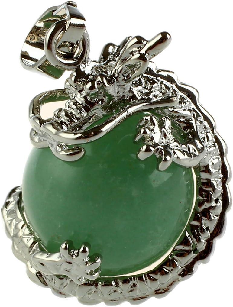 REFURBISHHOUSE 1 PCS Natural 15mm Piedra Preciosa Bola Colgante Envuelta Plata Aleacion Dragon para Mujeres Encantada Joyeria Collar - Aventurina Verde