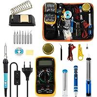 EXTSUD 30pcs Kit de Fer à Souder Electrique Temperature Réglable 220V 60W avec Multimètre pour Débutant Electrique et Bricolage