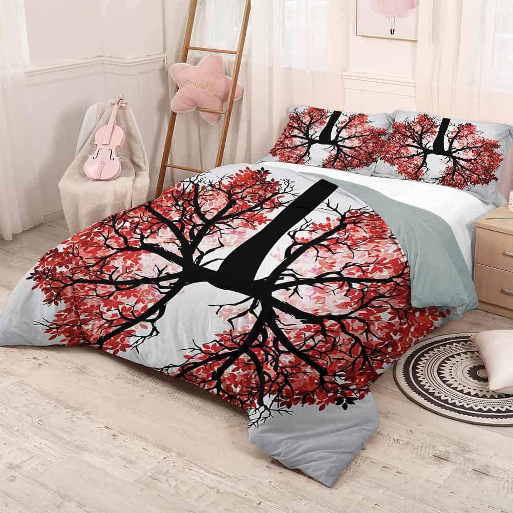 prunushome Modern Quilt Cover Pillowcase Eco Environment Themed Human Lung Shaped Floral Tree Healthy Lifestyle Nature Print Unisex Bedding Set Modern Pattern Printed Red Brown Twin Size