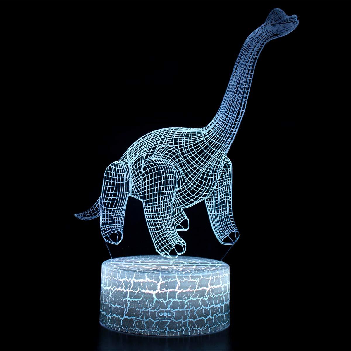 NHSUNRAY 3D Dinosaurio Luz de Noche L/ámpara de Ilusi/ón Dinosaurio LED Con Interruptor T/áctil L/ámpara de Noche 7 Colores L/ámpara de Decoraci/ón de Cumplea/ños San Valent/ín Regalo Para Ni/ño y Adult