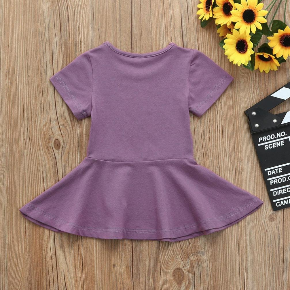 Wenjuan Toddler Kids Baby Girsl Short Sleeve Solid Princess Tutu Casual Candy Color Summer Dress