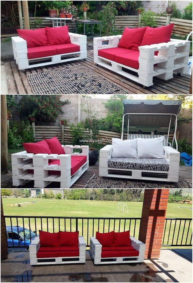 1 x SOFÁ con Ruedas para Interior & Exterior de 3 Plazas - Juego & Mueble de Terraza & Patio & Jardín hecho con Palets de Madera Reciclados (NO incluye ...