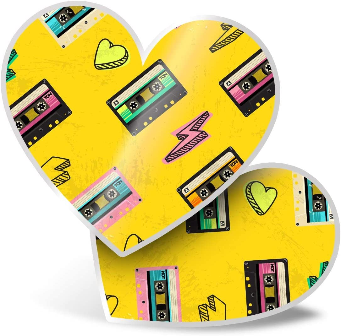 Awesome 2 x Heart Stickers 7.5 cm - Retro Cassette Tape Music Fun Decals for Laptops,Tablets,Luggage,Scrap Booking,Fridges,Cool Gift #21065