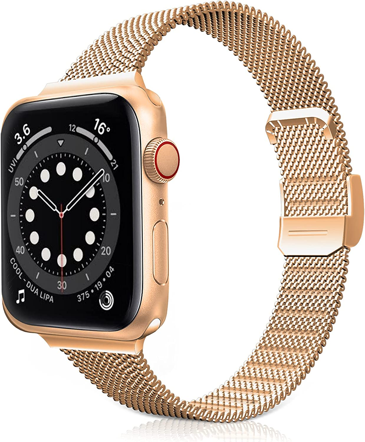 Jomoq Slim Bands Compatible with Apple Watch 38mm 40mm 42mm 44mm, Stainless Steel Mesh Metal Slim Thin Replacement Wristbands Compatible for iWatch Series 6/5/4/3/2/1 SE Women Girls