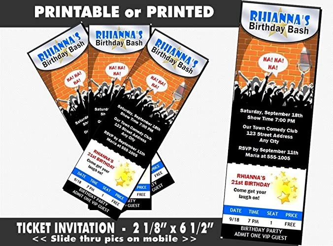 Comedy Club Birthday Party Ticket Invitation Printable Or Printed Option