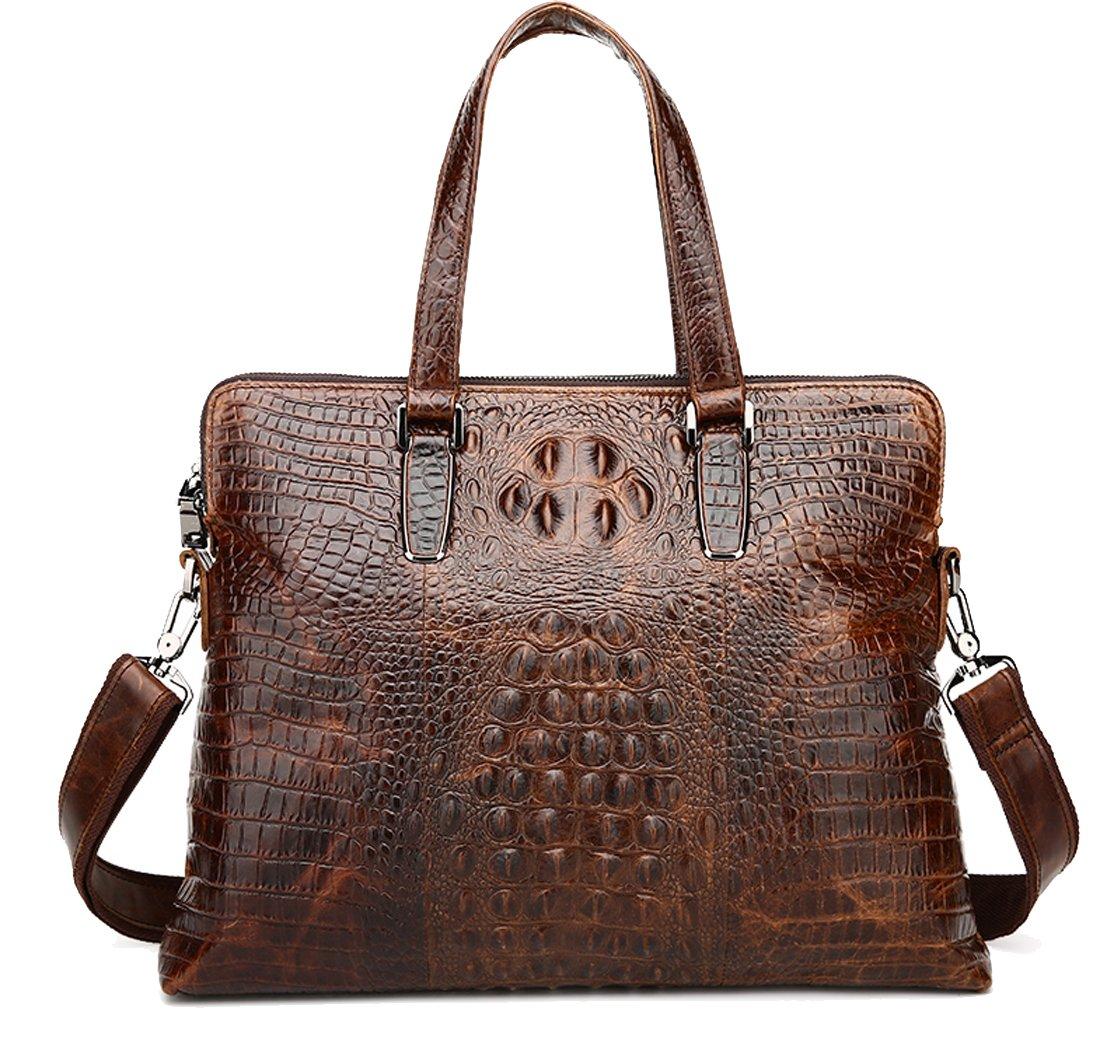 Heshe Vintage Leather Crocodile Men Handbags Messenger Briefcase Business Shoulder Bag Work Tote Fit Laptop (Dark Brown)