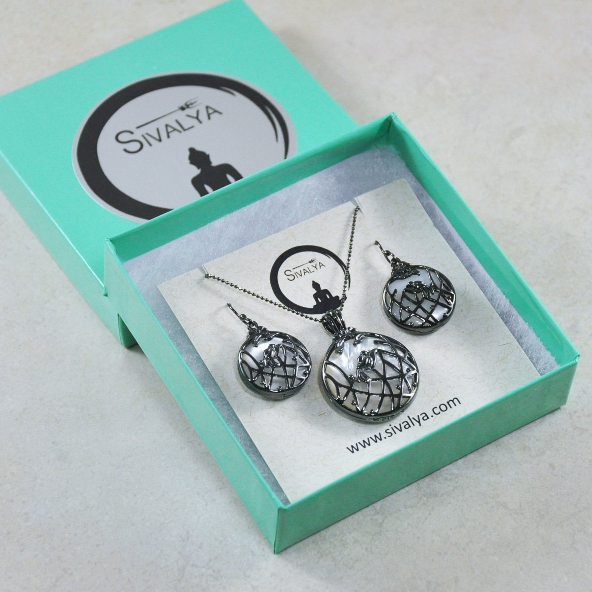 Sivalya Wildflower Moonstone Necklace and Earrings Set in 925 Sterling Silver with Black Rhodium Plated, Openable Frames – wear with or without the stone, Great Gift for Her!