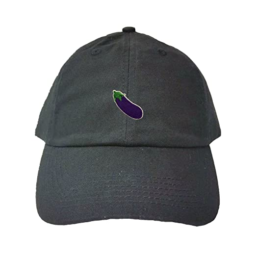 0a266cc5d8d Amazon.com  Adjustable Black Adult Eggplant Emoji Embroidered Dad ...