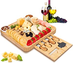 Cheese Board and Knife Set, Large & Thick Bamboo Cheese Servers platter & Serving Tray, Charcuterie Meat platter With Slide-Out Drawer for Wine, Crackers,Brie,Fruits,Bread & Perfect Choice for Gift