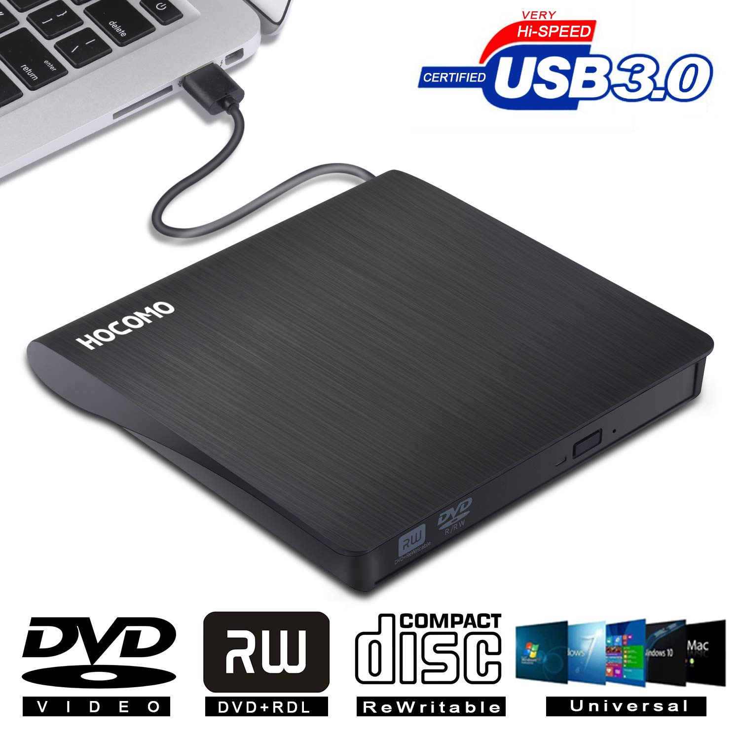 External DVD Drive for Laptop - USB 3.0 Portable Slim Burner Suitable for Compact Disc CD-R/DVD+R/DVD-R/DVD+R DL and Rewritable Disc CD-RW/DVD-RW/DVD+RW(Black) by HOCOMO (Image #1)