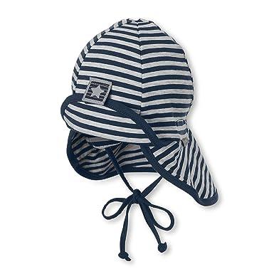 Sterntaler Chapeau pour garçons avec cordons à nouer, protège-cou et motif  à rayures 074e76c2aca