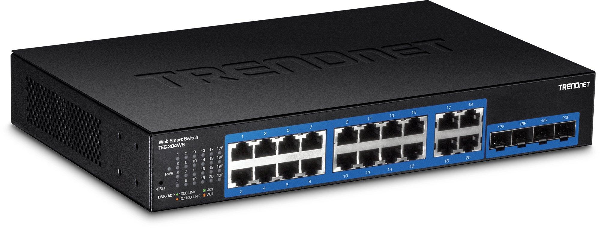 TRENDnet 20-Port Gigabit Web Smart Switch, 16 x Gigabit Ports, 4 x shared Gigabit Ports (RJ-45/SFP), VLAN, QoS, LACP, IPv6 Support, 40 Gbps Switching Capacity, TEG-204WS
