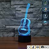 3D Illusion Lamp Jawell Night Light Guitar 7 Changing Colors Touch USB Table Nice Gift Toys Decorations