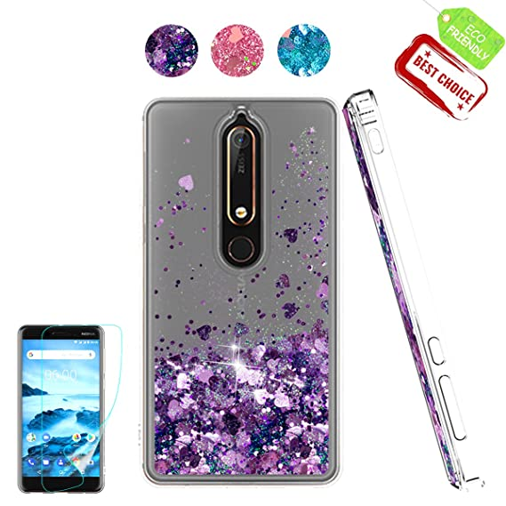 detailed look 9e644 d33c1 Nokia 6.1 Case, Nokia 6 2018 Case with HD Screen Protector for Girl Woman,  Atump Cute Glitter Series Quicksand Liquid Floating Flowing Sparkle Bling  ...