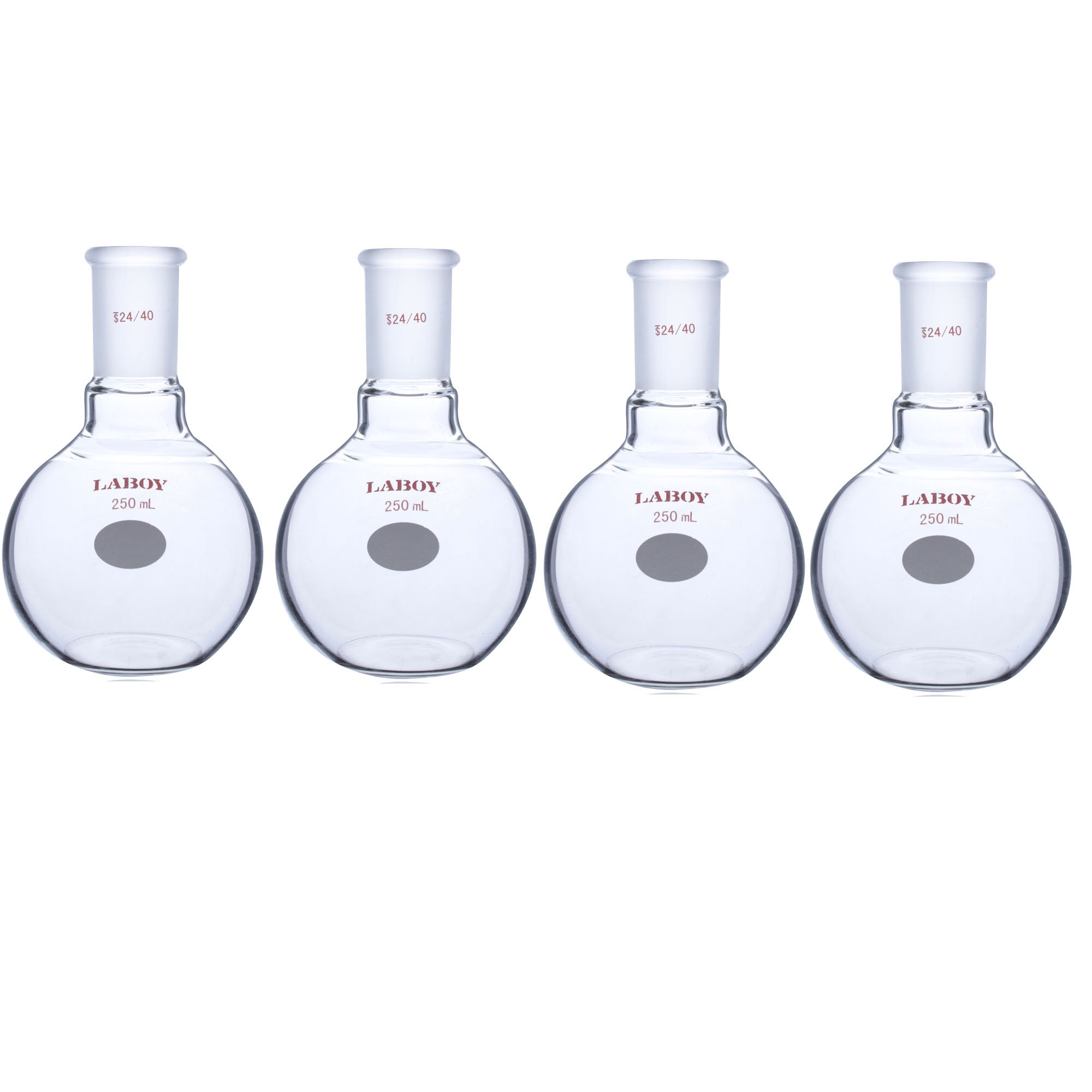 Laboy HMF010104L Glass Single Neck Flat Bottom Boiling Flask 250 mL with 24/40 Glass Joint (Pack of 4)