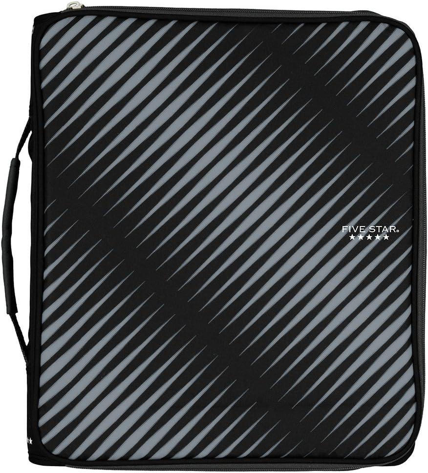 Five Star Zipper Binder, 2 Inch 3 Ring Binder, 6-Pocket Expanding File, Durable, Black (72536)